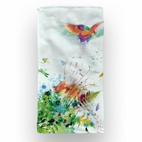 Prosop de baie și plajă, Jungle Birds, 70x140 cm, 70% bumbac, 30% microfibra, multicolor