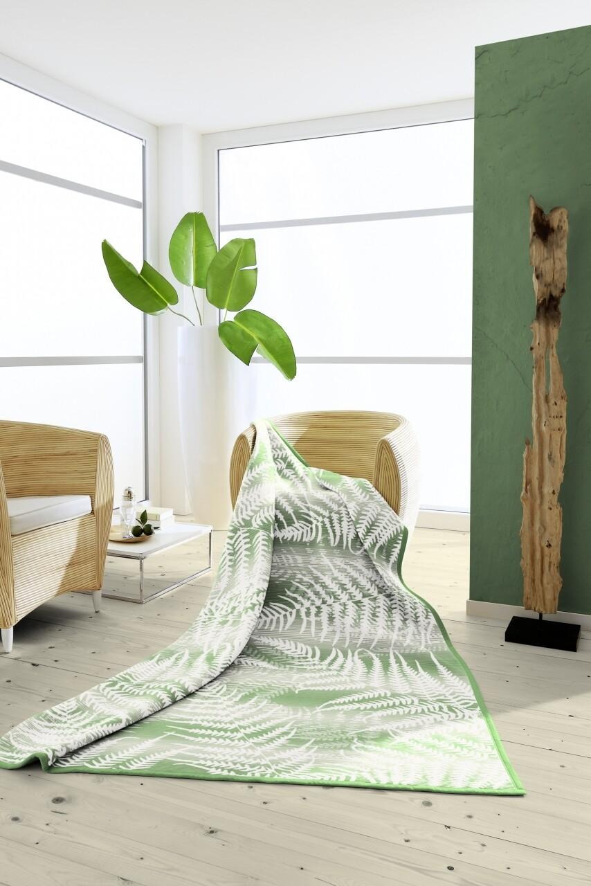 Patura Biederlack Natura Farn, 150x200 cm, alb/verde