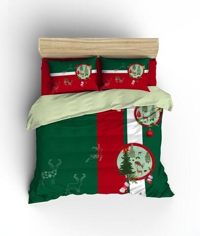 Lenjerie de pat pentru doua persoane King Size, Colors of Fashion, print 3D, 332, 100% bumbac ranforce, 3 piese, verde/rosu/alb