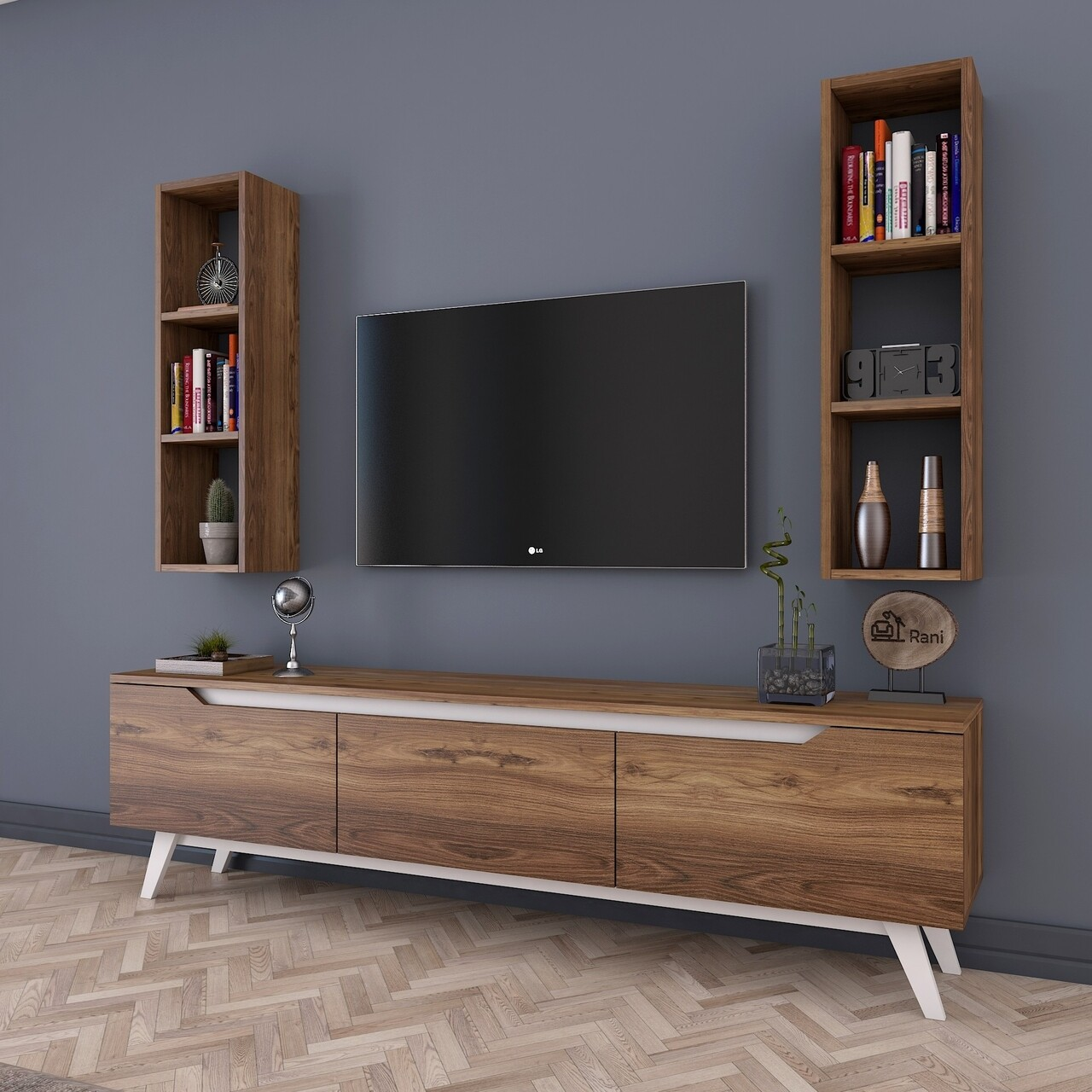 Comoda TV cu 2 rafturi de perete M6 - 828, Wren, 180 x 35 x 48.6 cm/90 cm, walnut/white