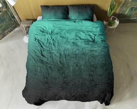 Lenjerie de pat pentru doua persoane Maurice Blue, Primaviera Deluxe, 100% bumbac satinat
