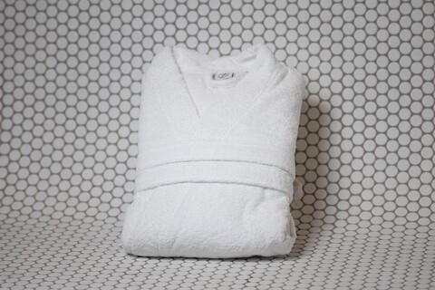 Halat de baie, Boutique Frotir, marime universala, 100% bumbac frotirat Pure Cotton, 400 gr/mp, alb