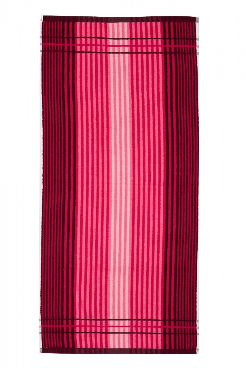 Prosop de plaja Lines, Heinner, 70 x 140 cm, 80% bumbac/ 20% poliester, roz