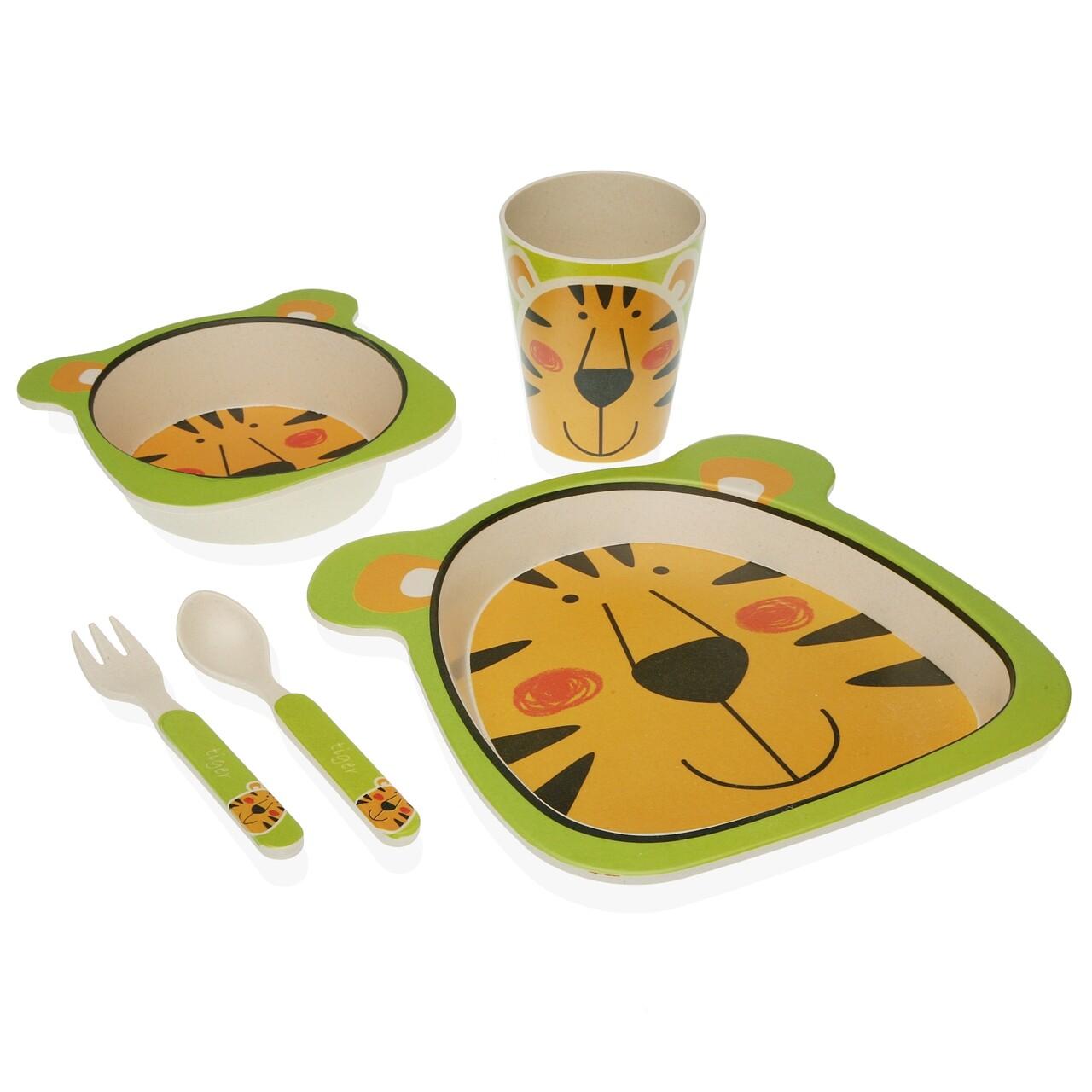 Set de masa pentru copii, 5 piese, Versa, Tiger, fibra de bambus, multicolor