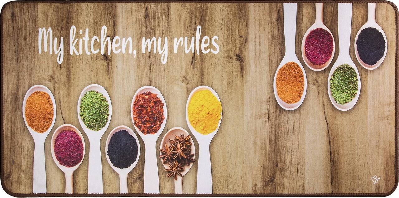 Covor pentru bucatarie, Olivio Tappeti, Miami 3, Brown Spice, 50 x 130 cm, poliester, multicolor