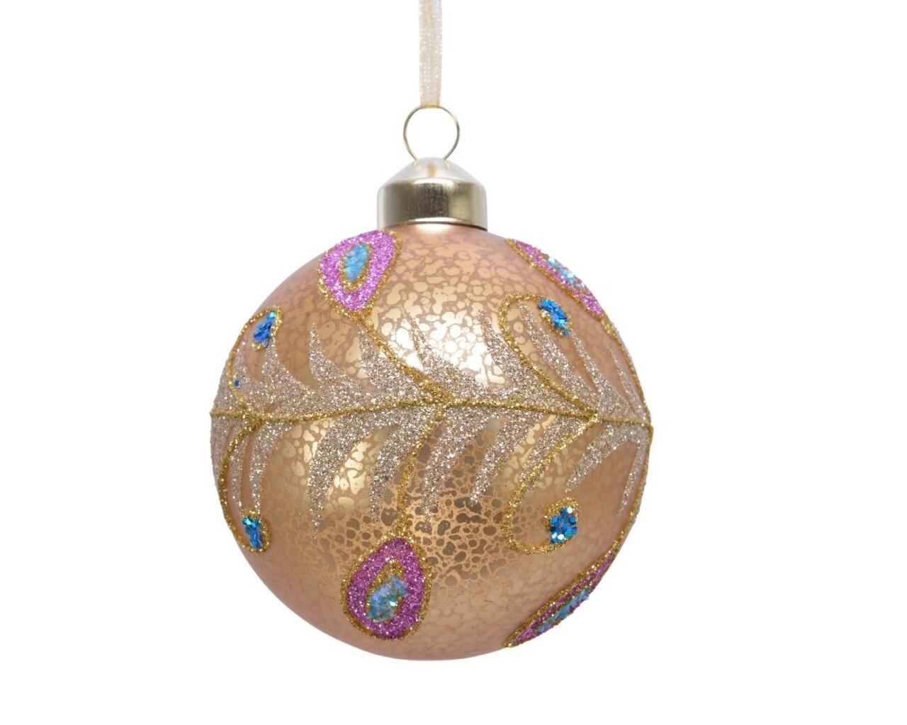 Set 3 globuri Peacock design glitt, Decoris, Ø8 cm, sticla, auriu