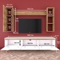 Comoda TV cu 2 rafturi de perete si cabinet M13 - 411, Wren, 180 x 35 x 48.6 cm/90 cm/133 cm, white/walnut