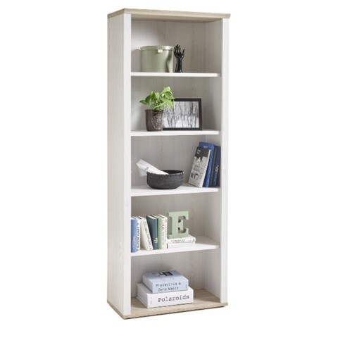 Raft pentru carti, Regal 3 Shelfs, 76 x 202 x 38 cm, PAL, alb/bej
