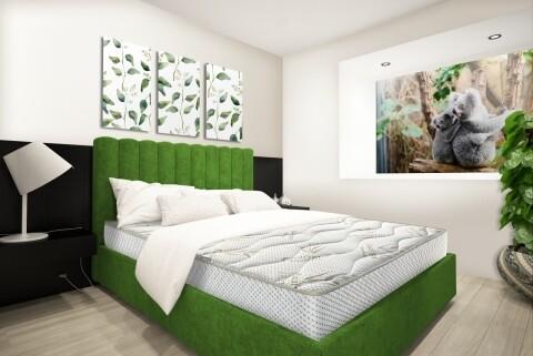 Saltea Eucalyptus Therapy Green Future, Memory, Husa cu tratament antimicrobian si uleiuri esentiale de Eucalypt, Super Ortopedica, 180x200 cm
