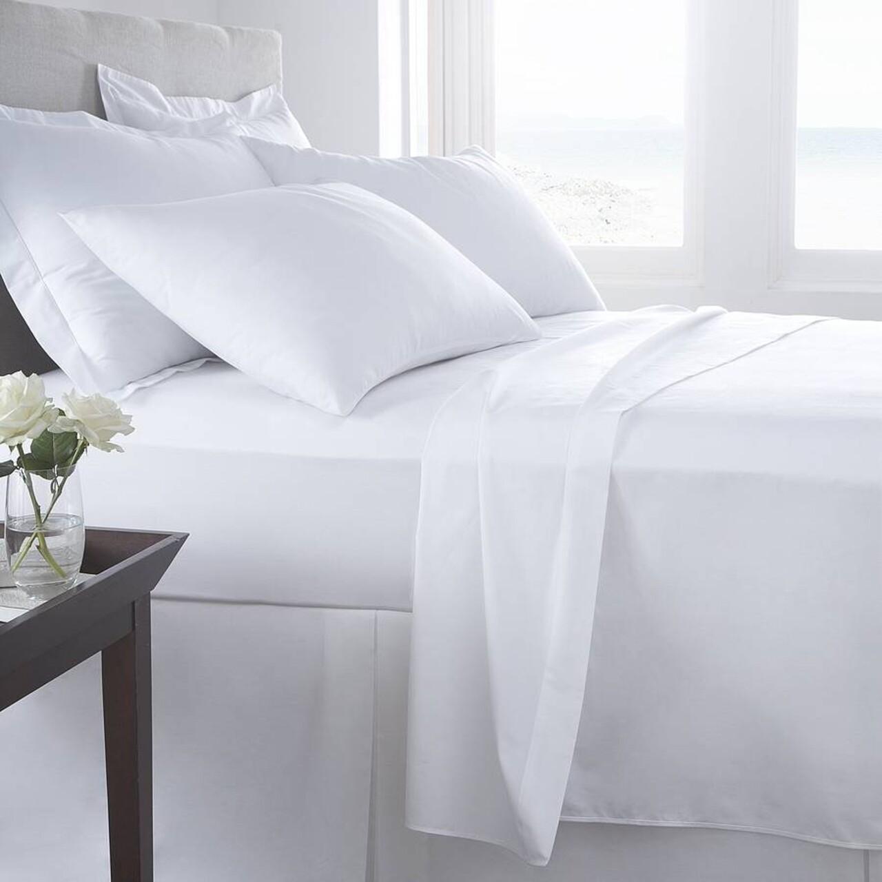 Lenjerie de pat pentru o persoana, Boutique Percale, 3 piese, policoton, TC 200, 130 g/mp, alb