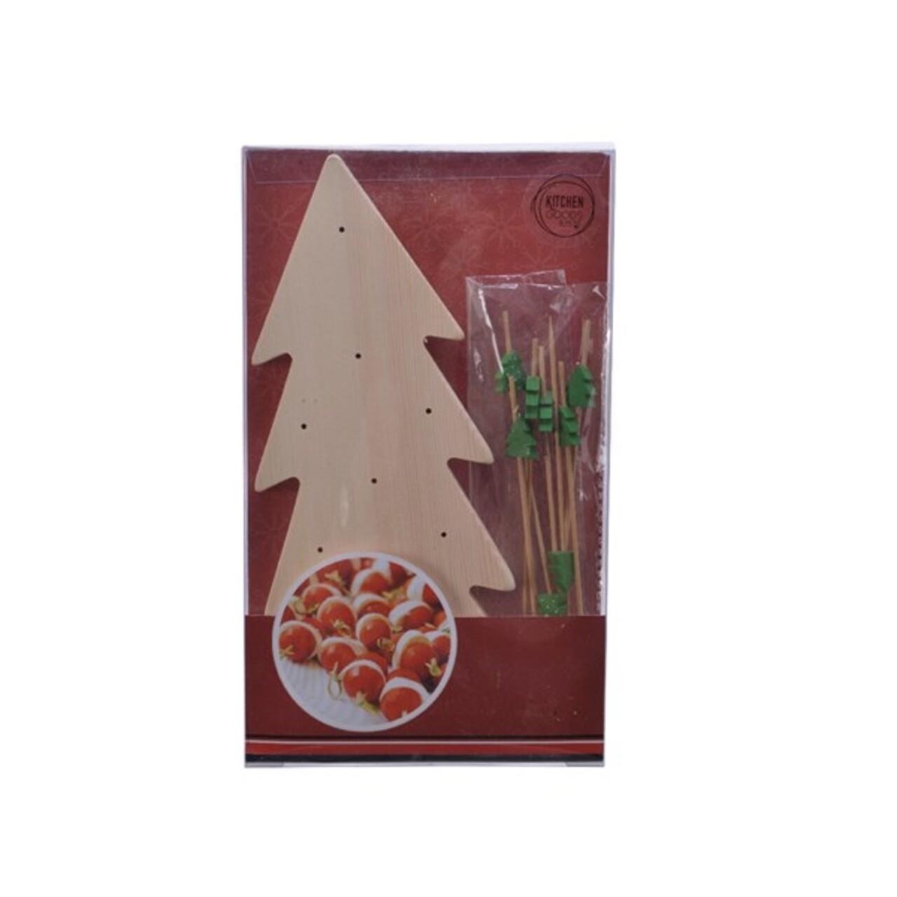 Set platou si scobitori pentru servirea gustarilor Tree, Decoris, lemn de pin