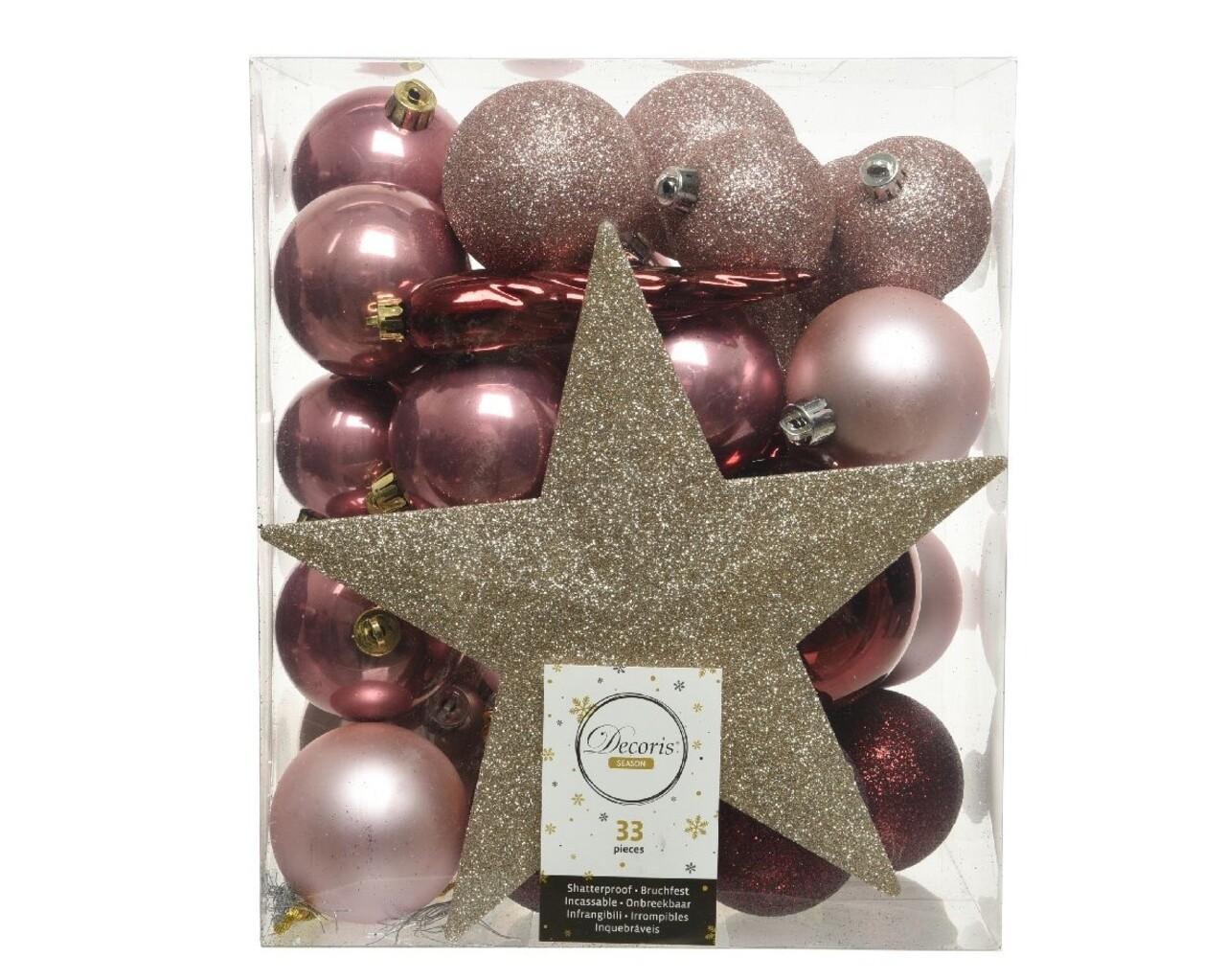 Cutie cu 33 globuri asortate si varf de brad Star Gold, Decoris, plastic, roz/auriu