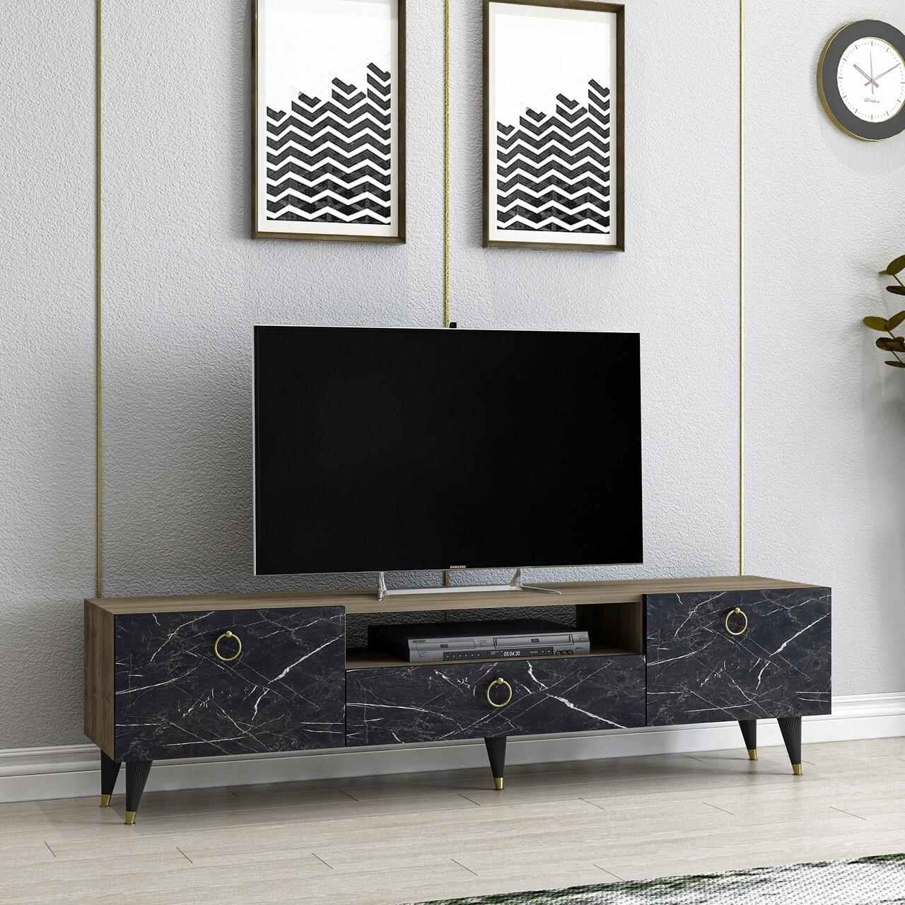 Comoda TV Cavelli, Arnetti, 150 x 31.3 x 45 cm, walnut/negru