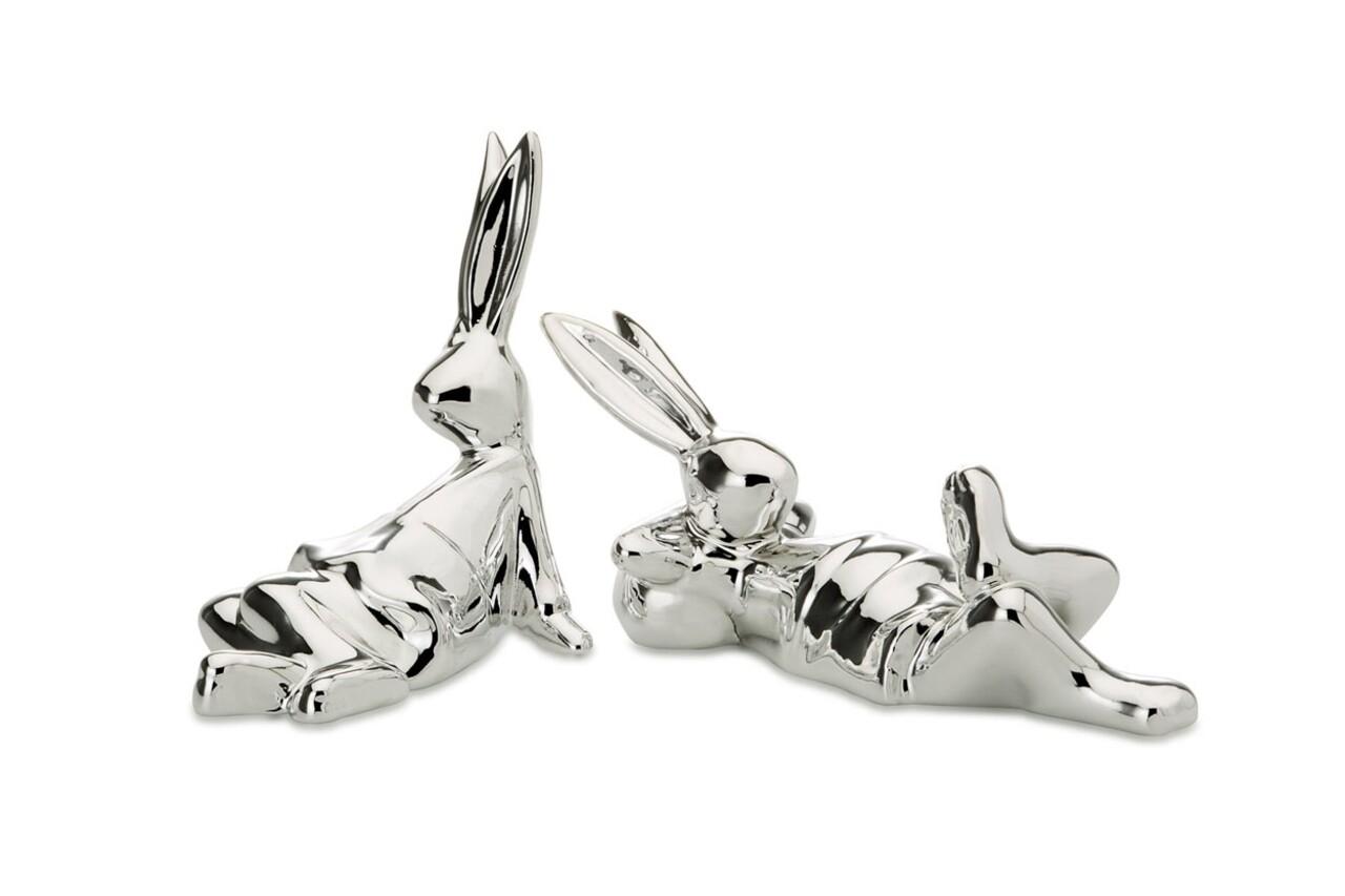 Set 2 decoratiuni Rabbit, Hermann Bauer, 14.5x5.5x7 cm, portelan, argintiu