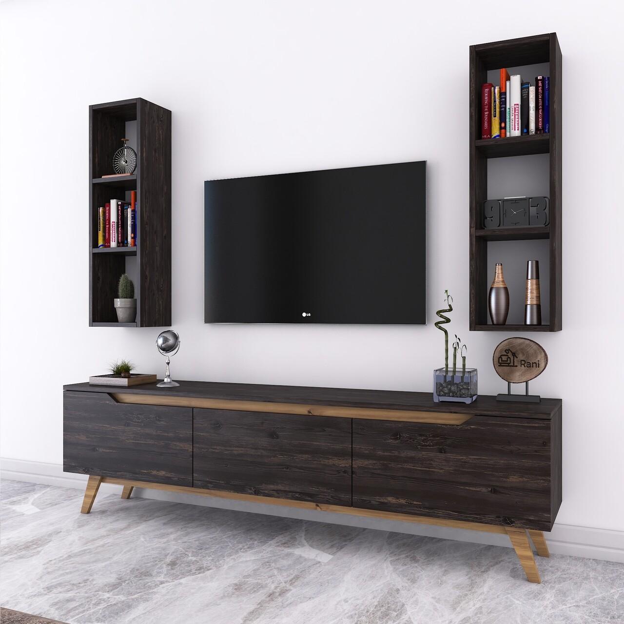 Comoda TV cu 2 rafturi de perete M6 - 1015, Wren, 180 x 35 x 48.6 cm/90 cm, black/walnut
