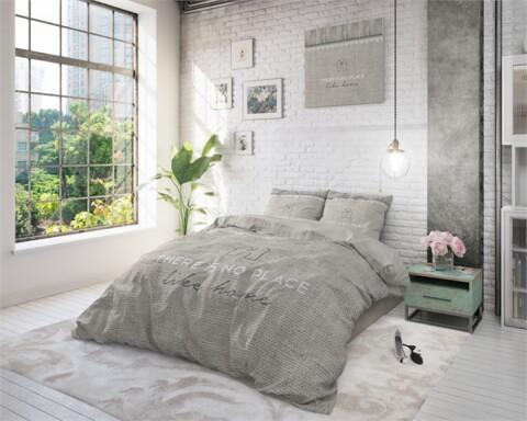 Lenjerie de pat pentru doua persoane Like Home Taupe, 100% bumbac