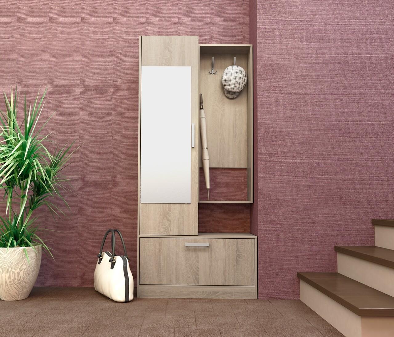 Dulap cu pantofar, cuier si oglinda, Bedora, City 4005, 90 x 33.5 x 201 cm, PAL, sonoma