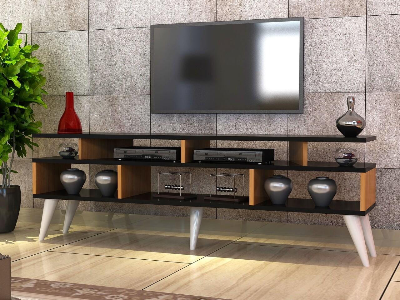 Comoda TV CIRAY-White Leg, Gauge Concept, 150x30x60 cm, PAL, alb