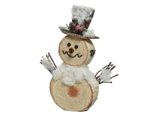 Figurina, Decoris, Snowman bark look, 4x20x24 cm