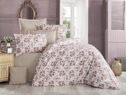 Lenjerie de pat pentru doua persoane, Histoire  Bedora, 100%  bumbac, 6 piese