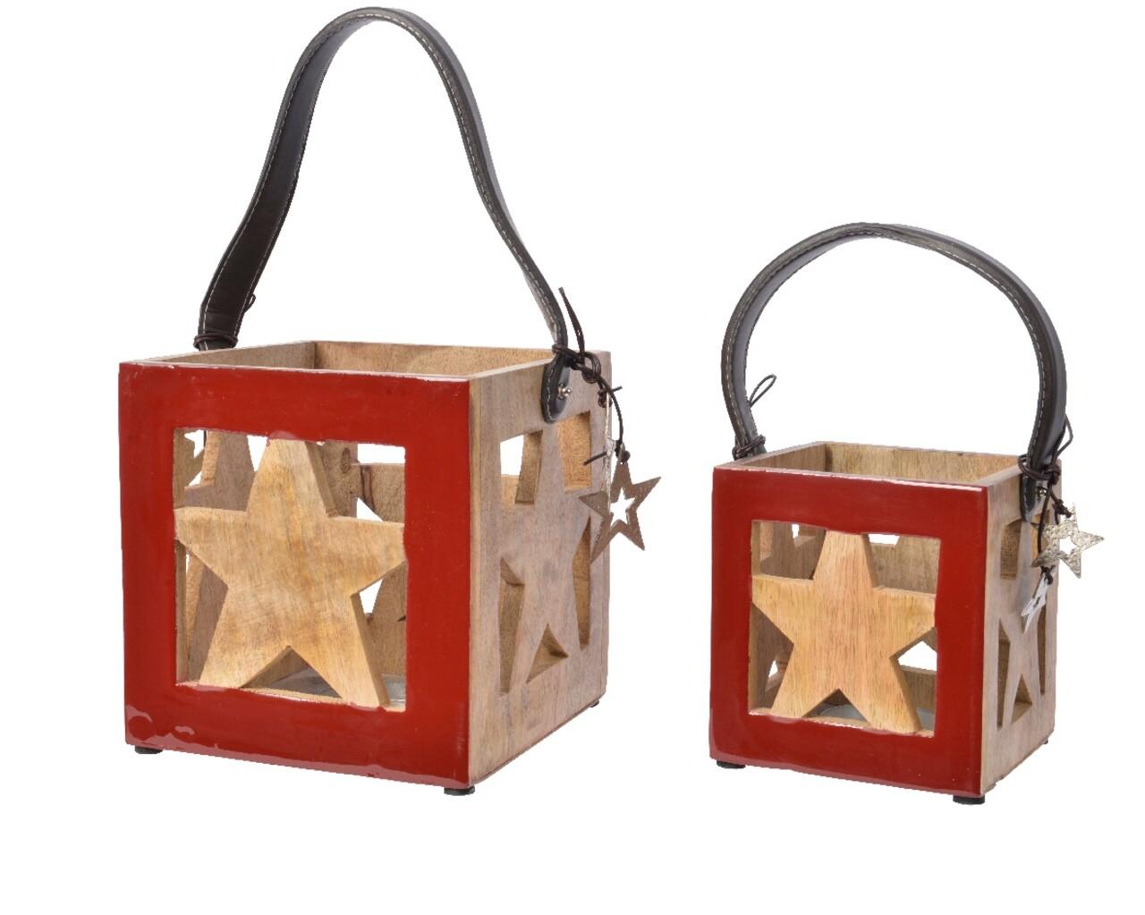 Set 2 felinare Star, Decoris, lemn, multicolor