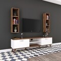 Comoda TV cu 2 rafturi de perete M6 - 323, Wren, 180 x 35 x 48.6 cm/90 cm, white/walnut