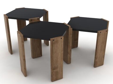 Set 3 masute Rafevi Hansel Nesting, 44.5 x 44.5 x 41 cm, PAL, walnut/negru