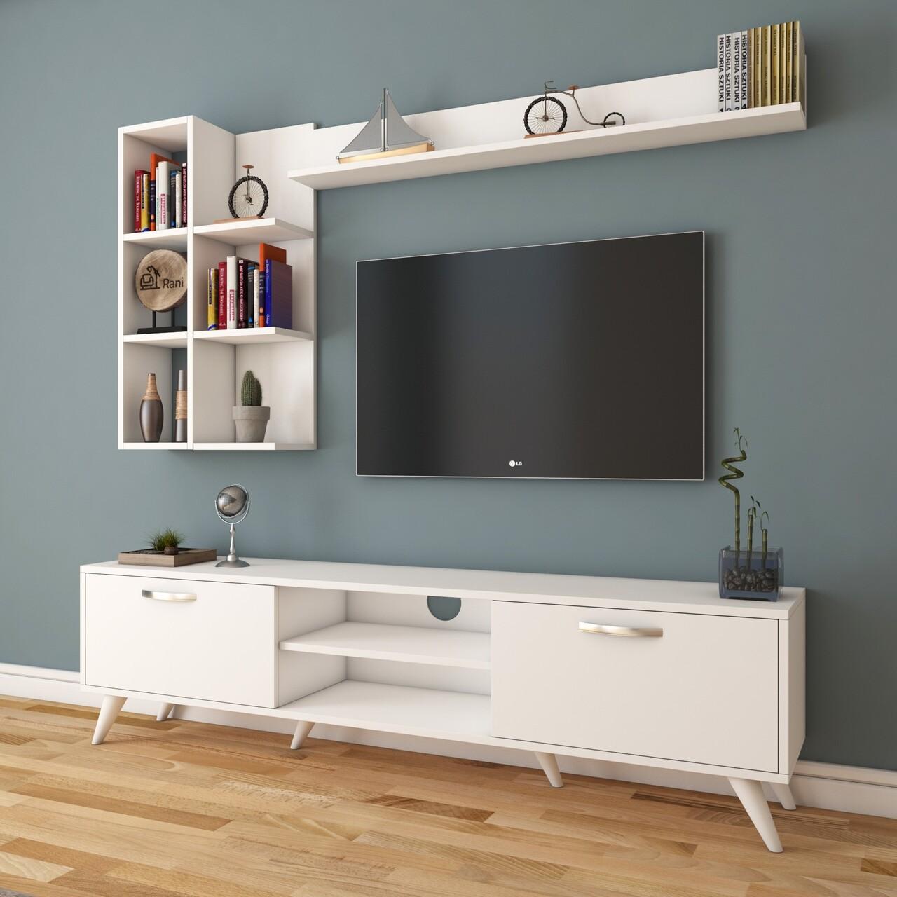 Comoda TV cu 3 rafturi de perete M42 - 312, Wren, 180 x 35 x 48.6 cm/ 90 cm/133 cm, white