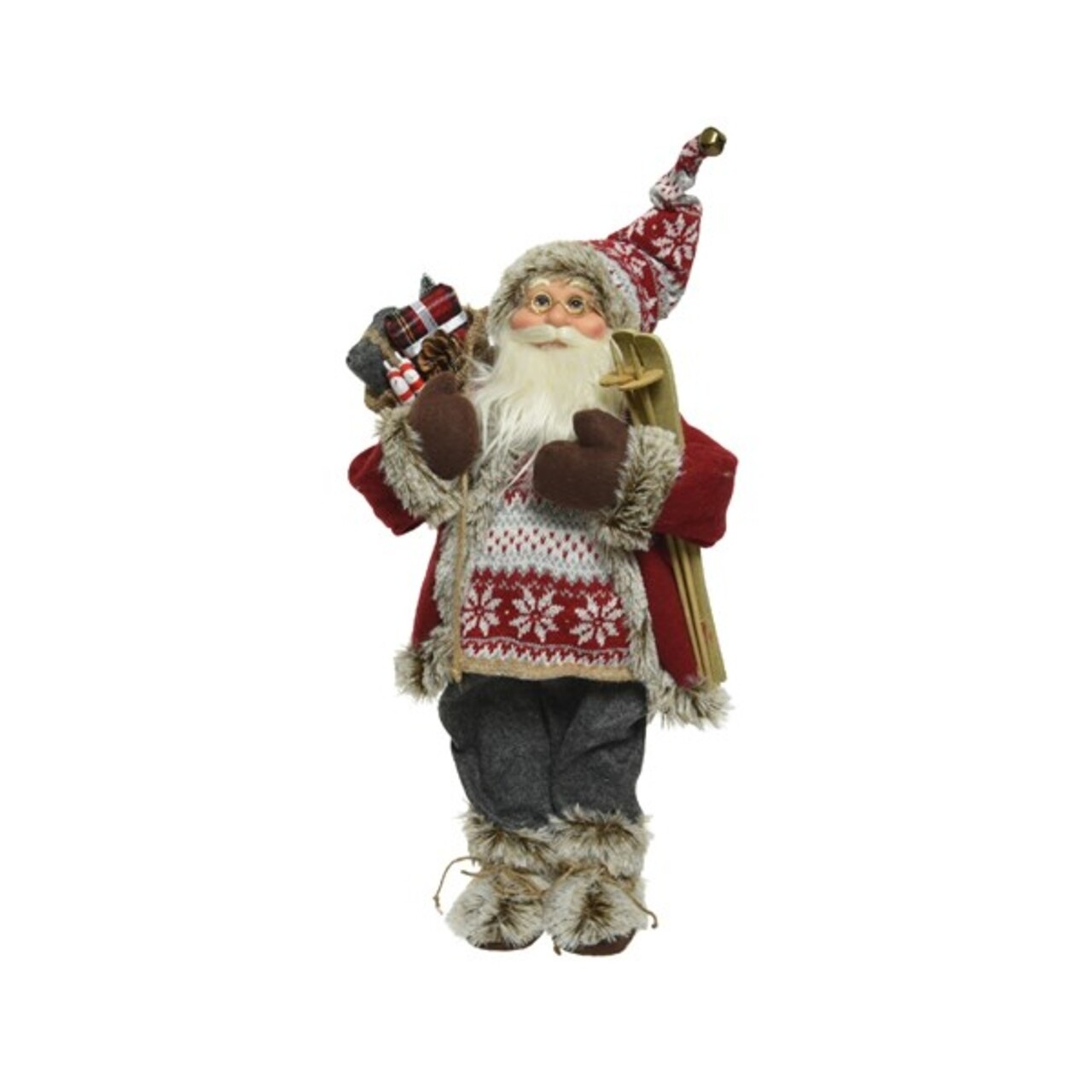 Figurina Decoris, Santa Ski, H- 60 cm, poliester