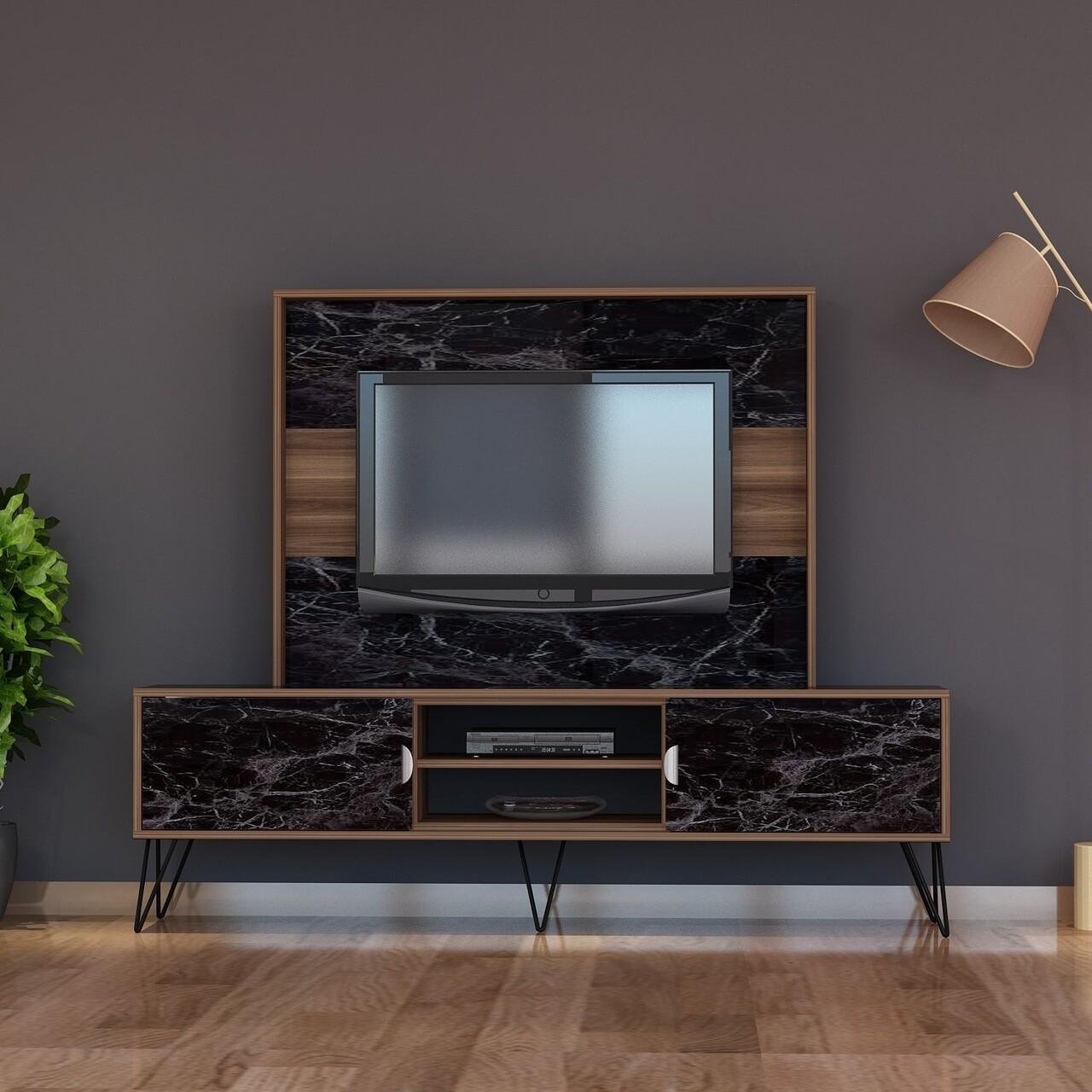 Comoda TV RAIN1, Gauge Concept, 180x30x145 cm, PAL, aluna/negru