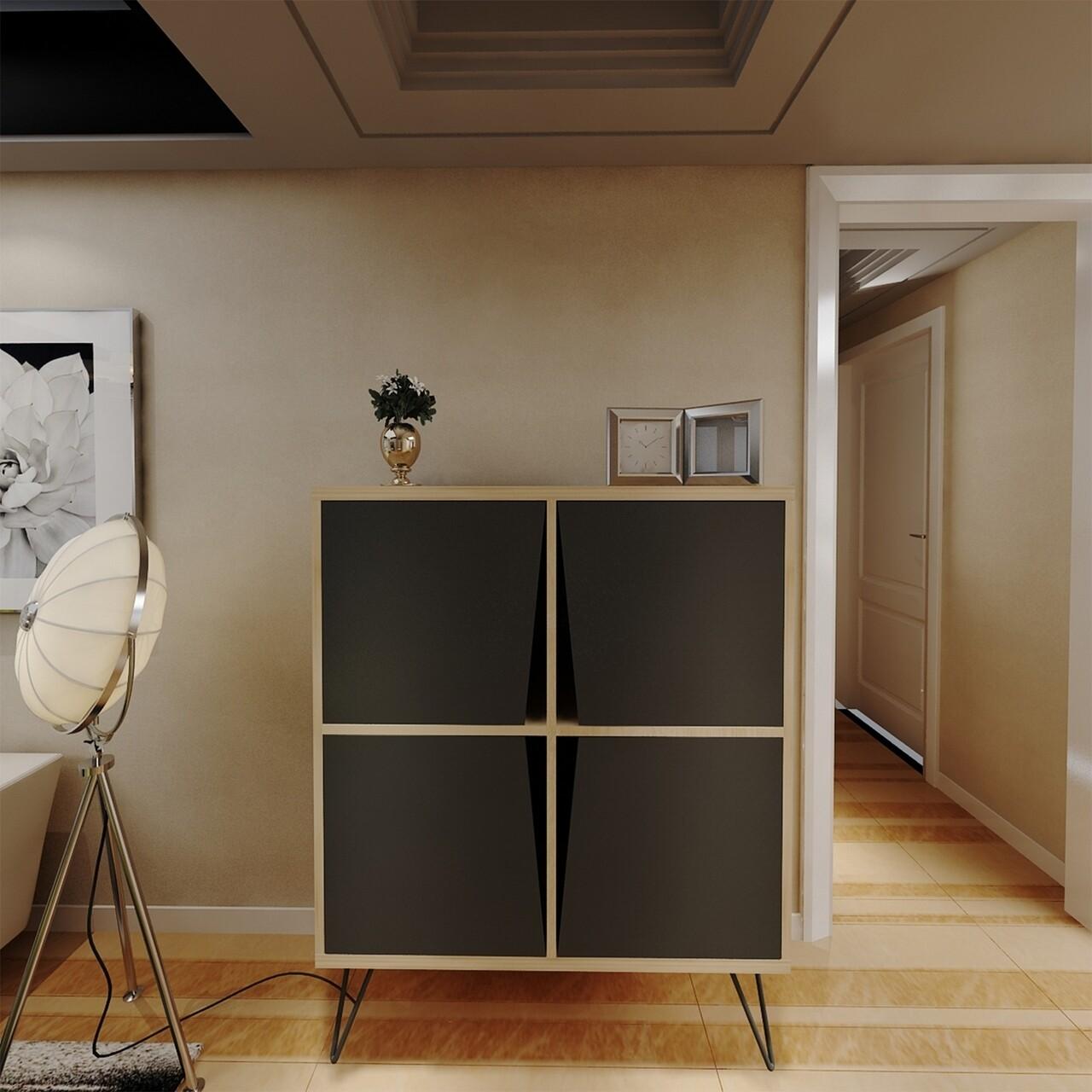 Comoda Momentum Multiuse, Maison in Design, 90 x 30 x 110 cm, PAL, oak/negru
