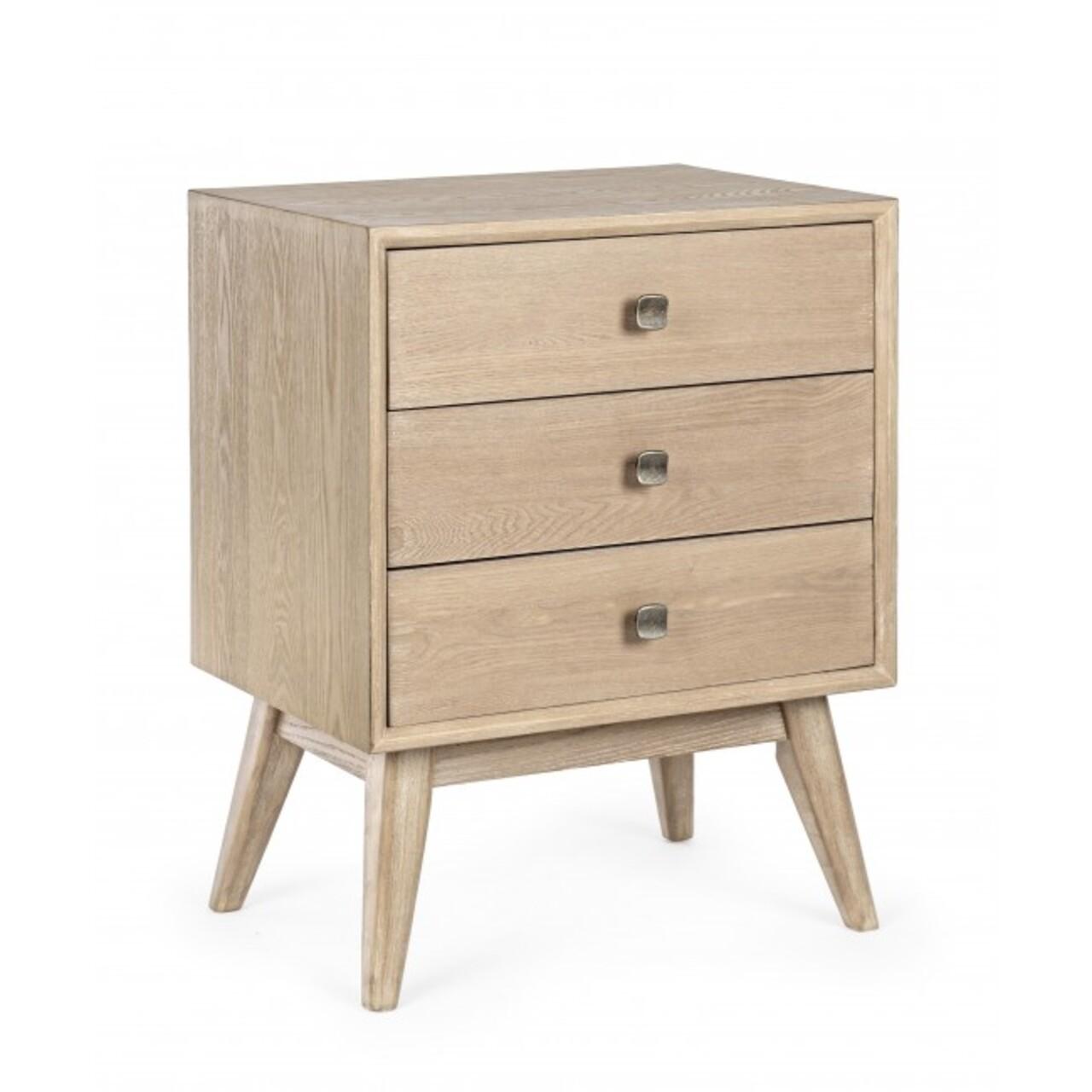 Comoda cu 3 sertare, Alannis, Bizzotto, 48x35x66 cm, MDF/lemn de frasin