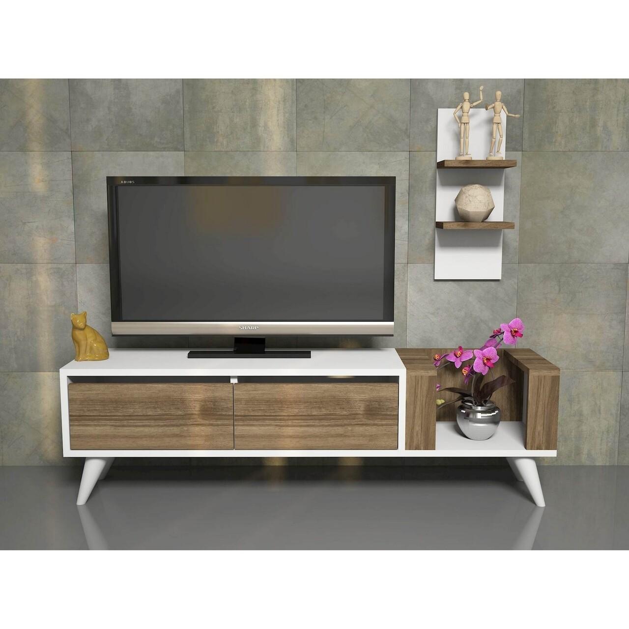 Comoda TV cu raft de perete Pers, Maison in Design, 130 x 30 x 38.6 cm, alb/natural