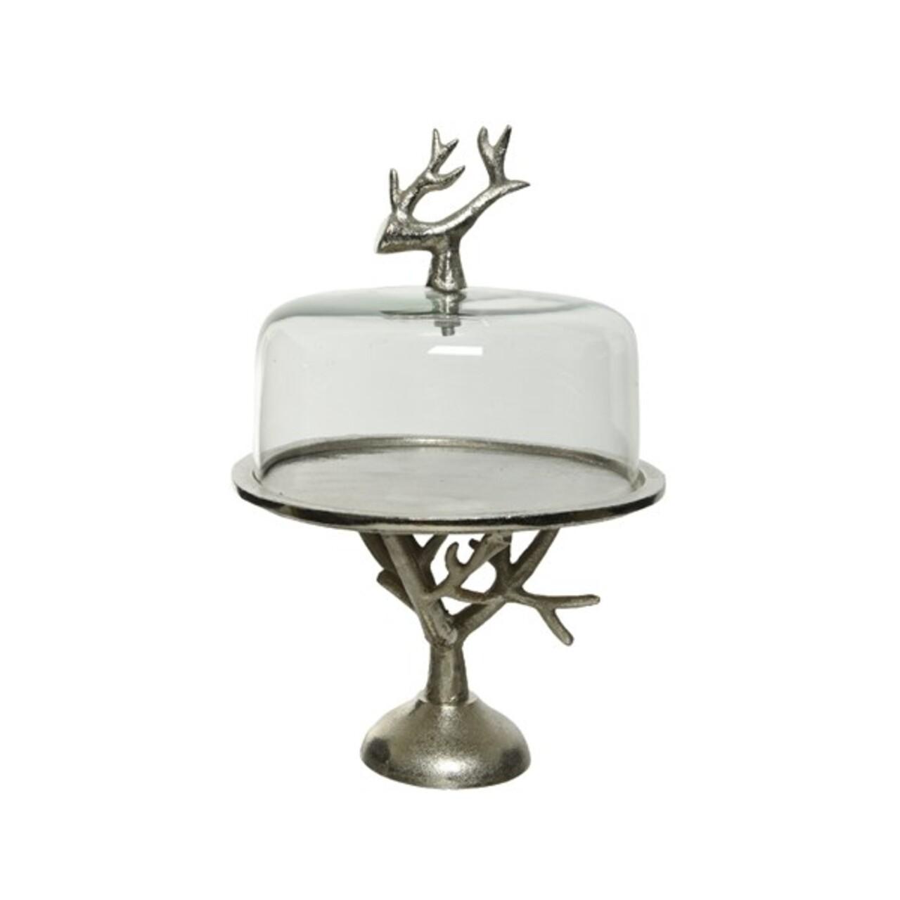 Platou pentru prajituri cu capac Antlers, Decoris, 27x37cm, sticla/aluminiu, argintiu