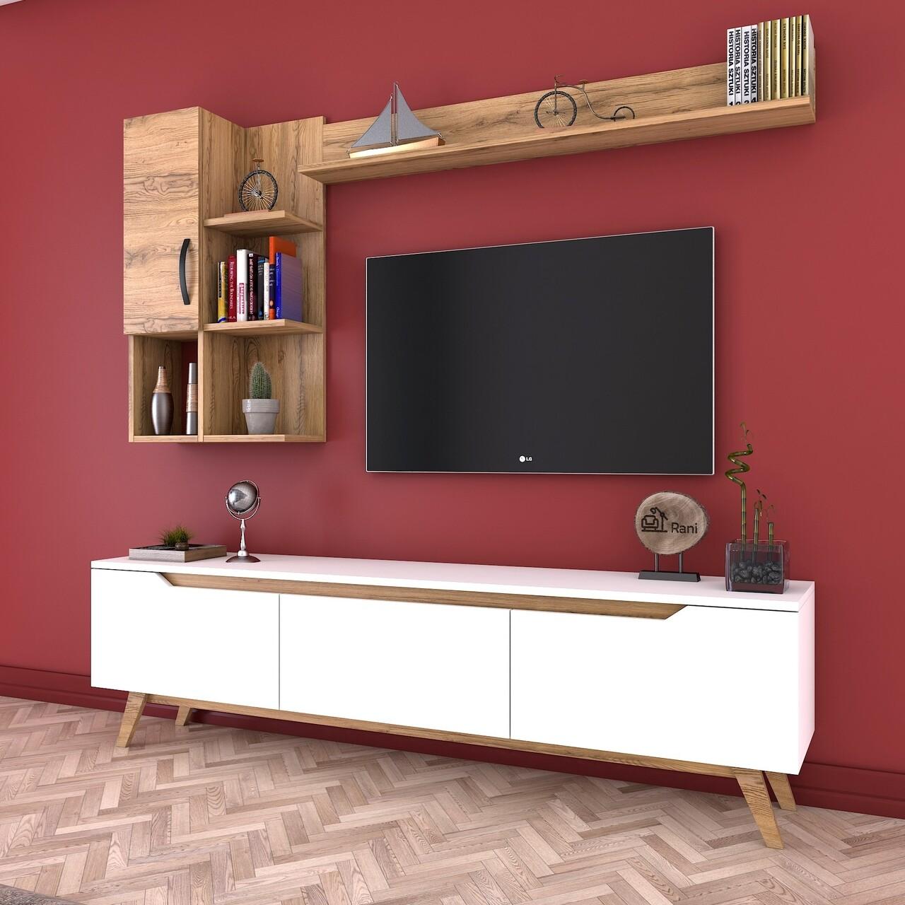 Comoda TV cu 2 rafturi de perete si cabinet M33 - 419, Wren, 180 x 35 x 48.6 cm/90 cm/133 cm, white/walnut