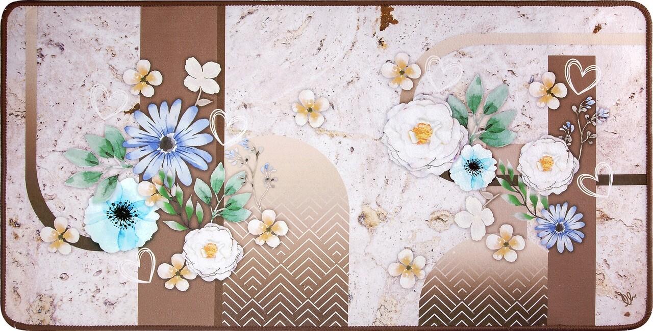 Covor pentru bucatarie, Olivio Tappeti, Miami 3, Flowers, 50 x 130 cm, poliester, multicolor