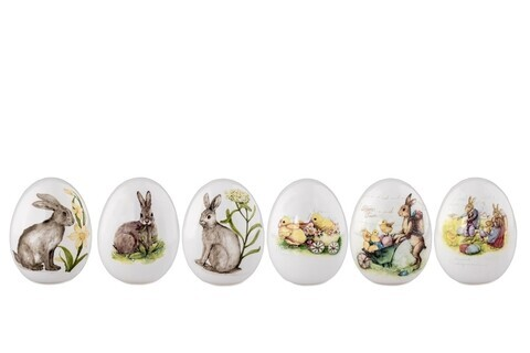 Set 6 oua decorative Rabbit, Hermann Bauer, portelan