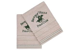 Set 2 prosoape de maini, Beverly Hills Polo Club, 403, 50x90 cm, 100% bumbac, bej