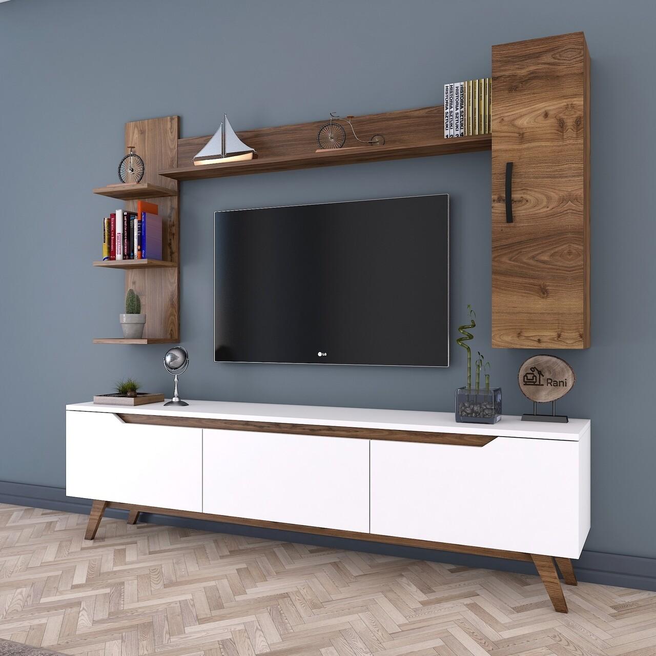 Comoda TV cu 2 rafturi de perete si cabinet M20 - 814, Wren, 180 x 35 x 48.6 cm/90 cm/133 cm, white/walnut