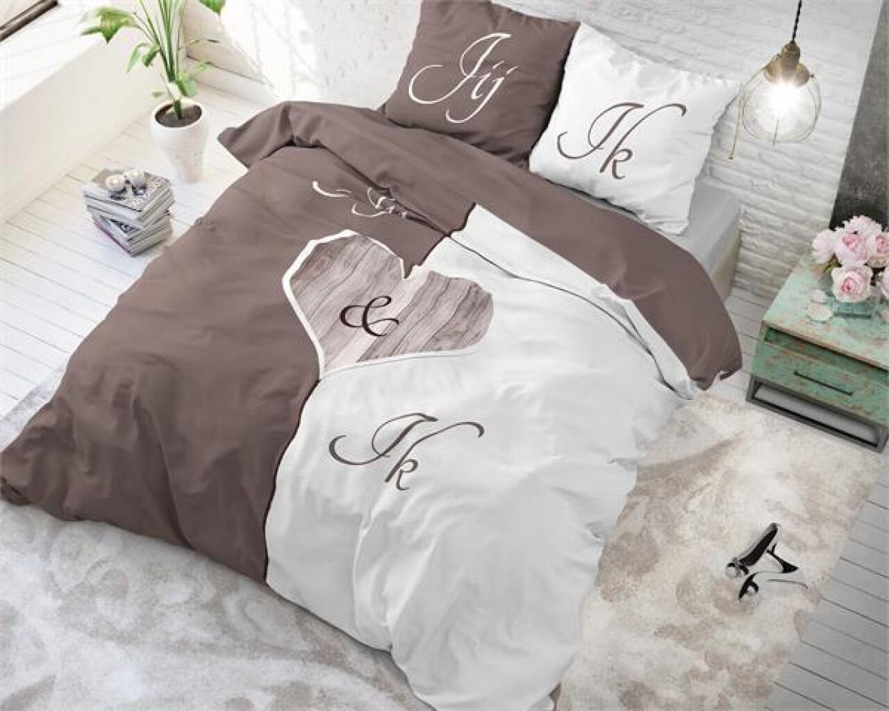 Lenjerie de pat pentru doua persoane Jij en Ik Cream, Royal Textile,100% bumbac