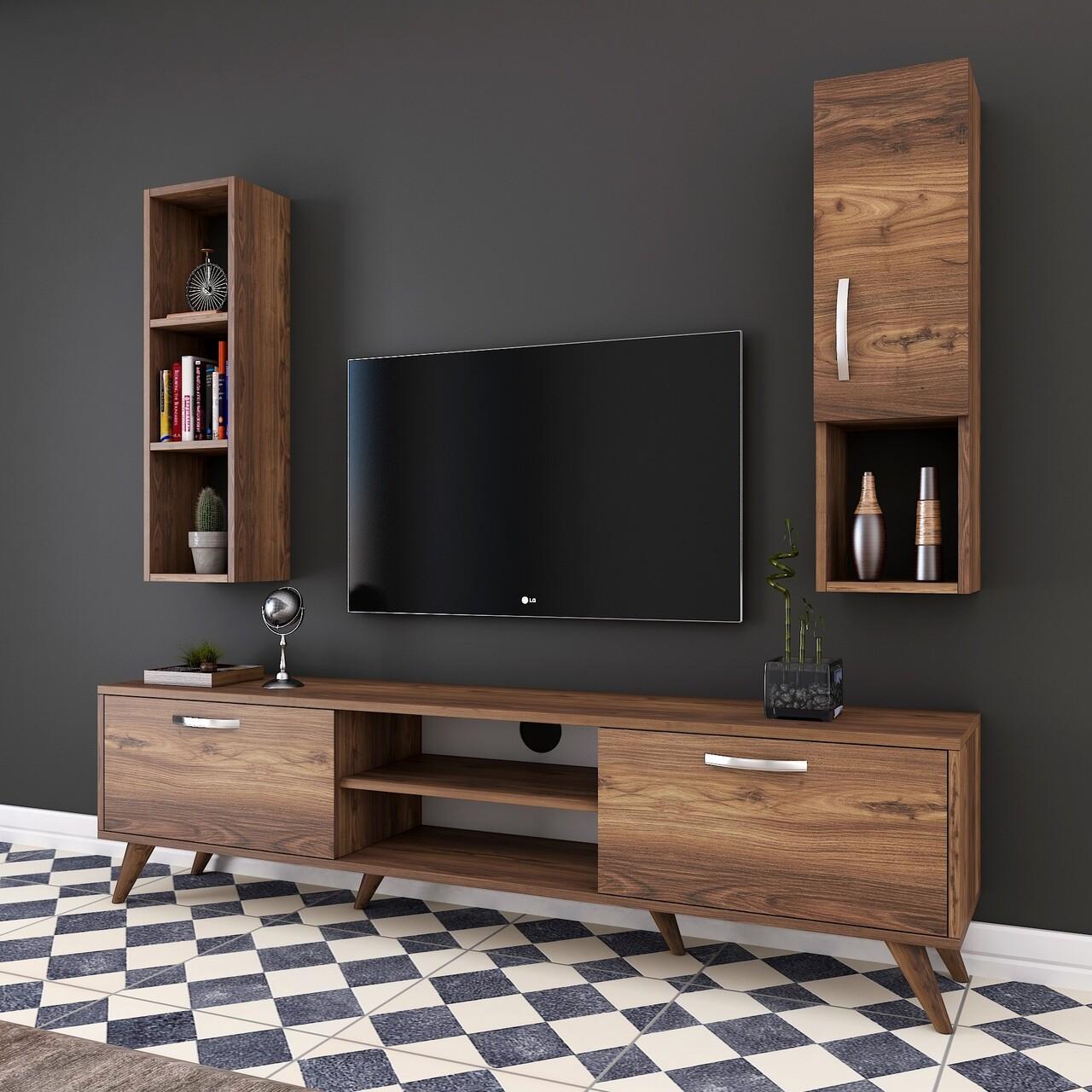 Comoda TV cu raft de perete si cabinet M11 - 252, Wren, 180 x 35 x 48.6 cm/90 cm, walnut