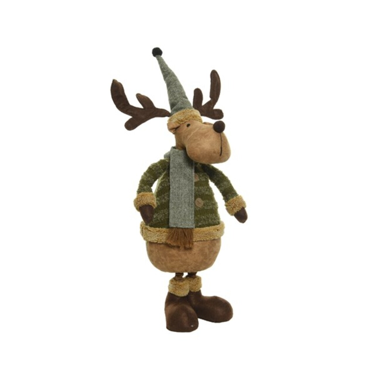 Decoratiune Deer w hat w scarf, Decoris, 21x25x87 cm, poliester, maro