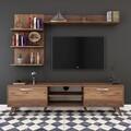 Comoda TV cu 3 rafturi de perete M41 - 309, Wren, 180 x 35 x 48.6 cm/90 cm/133 cm, walnut