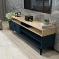Comoda TV LINA, Gauge Concept, 150x35x54.6 cm, PAL, stejar/albastru