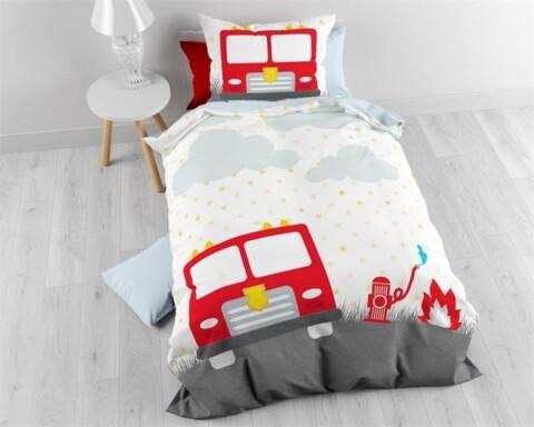 Lenjerie de pat pentru o persoana, Small Fireman White, Royal Textile, 100% bumbac