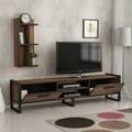 Comoda TV cu raft de perete Megy, Maison in Design, 184 x 39 x 45 cm, natural/negru