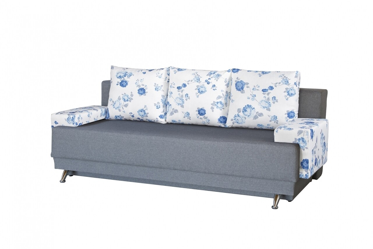 Canapea Extensibila Roma Grey Blue Anemone 205x90x86 cm, cu lada de depozitare