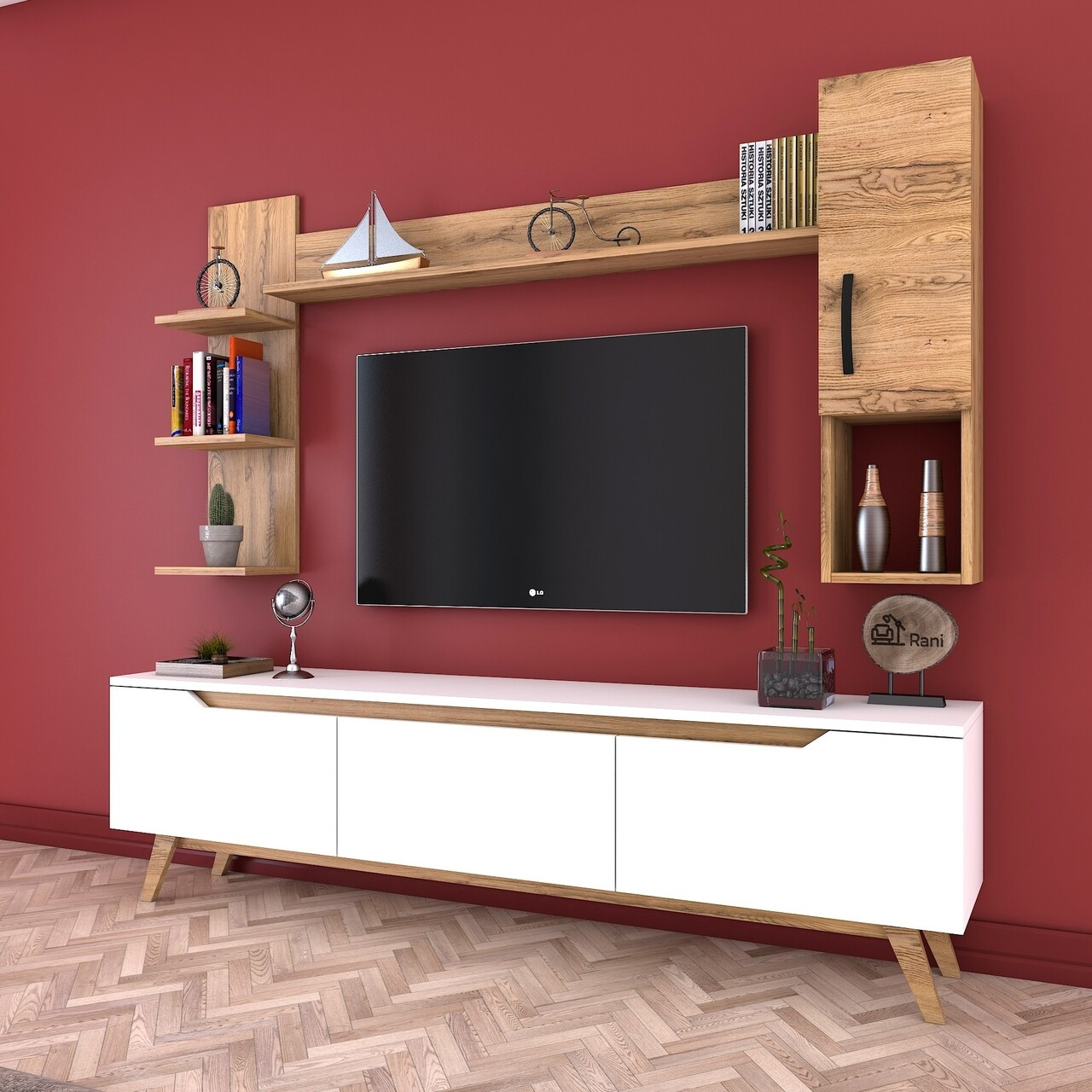 Comoda TV cu 2 rafturi de perete si cabinet M25 - 418, Wren, 180 x 35 x 48.6 cm/90 cm/133 cm, white/walnut