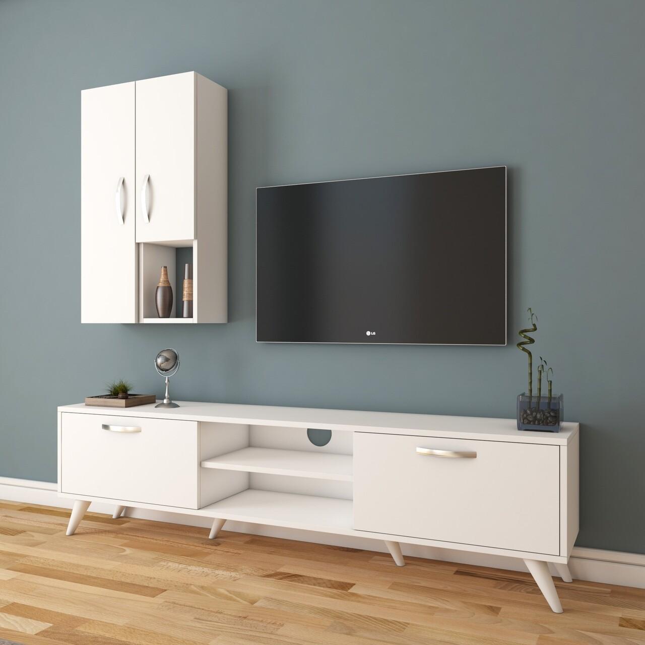 Comoda TV cu 2 cabinete M43 - 314, Wren, 180 x 35 x 48.6 cm/90 cm, white