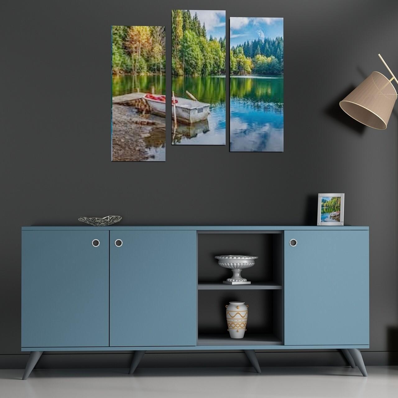 Comoda AMATA-C, Gauge Concept, 180x37x79 cm, PAL, antracit/albastru